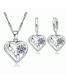 Sevgiliye Hediye Kalp Tasarım CZ 925 Gümüş Kaplama Trendy Kolye ve Küpe