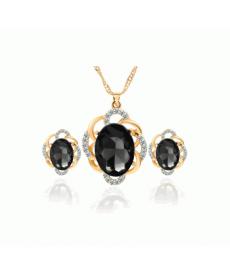 Siyah Kristal Kolye ve Küpe Takı Seti 2019 Yeni Model Takılar