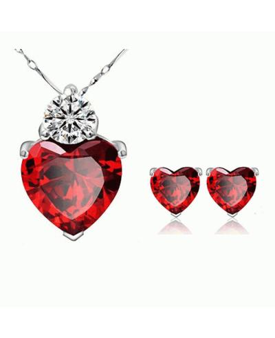 Söz Nişan Düğün Takı Setleri Kırmızı Kalp Kristal Küpe Kolye Seti Kübik Zirkon