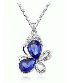 Yeni Sezon Gümüş Kaplama Kelebek Kolye Koyu Mavi Kristal Kelebek Kolye