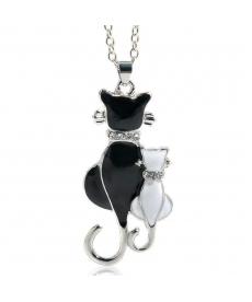 Yeni Sezon Sevimli Çift Kitty Tasarım Siyah Beyaz Kedi Kolye