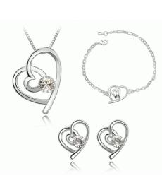 Beyaz Taşlı Kalp Kolye ve Küpe Bileklik 3lü Takı Setleri Moda Romantik Takılar