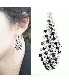 Elegant Black And White Crystal Prenses Son Moda Küpe Takı Modelleri