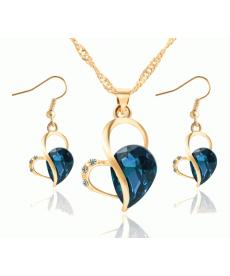 Kristal Mavi Kalp Romantik Stil Sevgililer Günü Kolye Küpe Takı Setleri