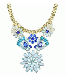 Mavi Çiçek Chocker Kolye Yüksek Kalite Trendy Kolye Modelleri