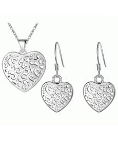 Oyma Desen Kalp Gümüş Kaplama Takı Sevgililer Günü Kolye Küpe Setleri