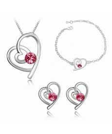 Romantik Takılar Kalp Kolye ve Küpe Bileklik 3lü Takı Setleri