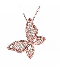 Sevimli Kelebek Kolye 2019 Yeni Moda Rose Gold Kaplama Gerdanlık Kolye Takı