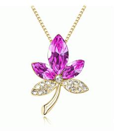 Şık Takı Modelleri Renkli Taşlı Crystal 3 Yaprak Akçaağaç Kolye