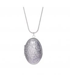 Uzun Zincirli Resim Çerçevesi Kolye Moda Gümüş Kaplama Oval Fotoğraf Kolye