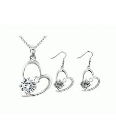 Yeni Beyaz Taşlı Kolye ve Küpe Romantik Gümüş Kaplama Takı Seti