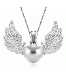 Yeni Moda 2019 Kolye Retro Takı Hollow Angel Wings Kalpli Kolye