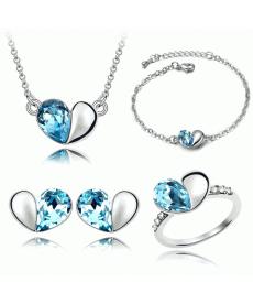 Yeni Takı Modelleri Kalp Kolye Küpe Yüzük ve Bileklik Gümüş Kaplama Takı Seti