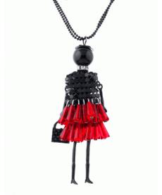 Yeni Tasarım Kız Çanta Kırmızı Elbise Kolye Moda Kazak Üstü Uzun Zincir Kolye