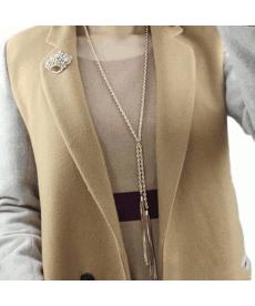 Bayanlar İçin Uzun Kolye Pileli Püskül Kolye Uzun Zincirli Kazak Kolye Takıları