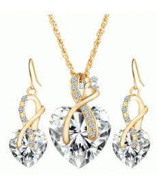 Beyaz Kristal 18k Altın Kaplama Romantik Kolye ve Küpe Sevgililer Günü Hediye