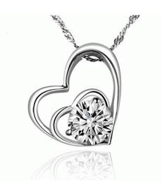 Gümüş Kaplama Kalp Beyaz Zirkon Taşlı Zincir Gerdanlık Aşk Kolye Hediye Takılar