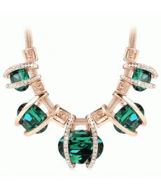 Kadın Moda 2019 Kristal Taşlı Yeşil Kolye Şık Zarif Gerdanlık Kolye Modelleri