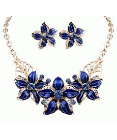 Mavi Çiçek Kolye Küpe Takı Seti Moda Gerdanlık Takı Modelleri