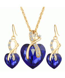 Mavi Kristal 18k Altın Kaplama Romantik Kolye ve Küpe Takı Setleri