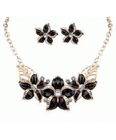 Siyah Çiçek Kolye Küpe Takı Seti Moda 2019 Bayan Takı Aksesuar