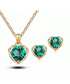 Yeni Sezon Kadın Moda Takı Kalp Kristal Yeşil Taşlı Kolye