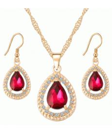 Altın Kaplama 18K Moda Kırmızı Kristal Küpe Kolye Setleri Arkadaşa Hediye