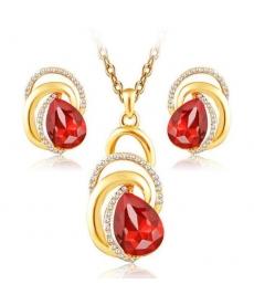 Altın Kaplama 18K Takı Setleri Kırmızı Taş Kolye ve Küpe Nişan Düğün Takı Seti