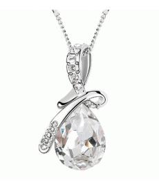 Gümüş Kaplama Kristal Moda Beyaz Kolye Güzel Takı Modelleri