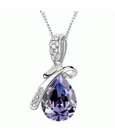 Gümüş Kaplama Kristal Moda Mor Kolye Güzel Takı Modelleri