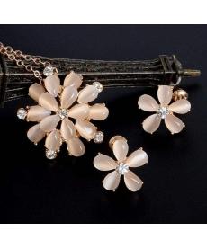 Kristal Taşlı Opal Kolye ve Küpe 18K Altın Kaplama Düğün Takı Setleri