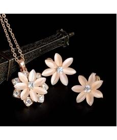 Kristal Taşlı Opal Kolye ve Küpe 18K Altın Kaplama İmitasyon Takı Setleri