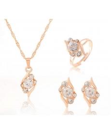 Moda Rose Gold Kaplama Kristal Kolye Yüzük Küpe Takı Seti Doğum Günü Hediyeleri