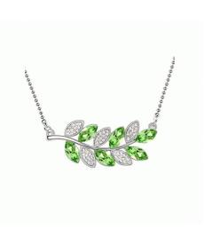 Akçaağaç Yaprak Kristal Taşlı Yeşil Gümüş Kaplama Moda Yaka Kolye