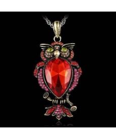 Antik Baykuş Kolye Büyük Taşlı Kırmızı Kristal Zarif Uzun Kolye Retro
