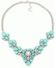Chokers Kristal Çiçek Mavi Kolye Gerdanlık Kolye Bayan Takı Modelleri