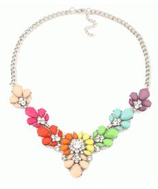 Chokers Kristal Çiçek Renkli Kolye Gerdanlık Kolye Bayan Takı Modelleri