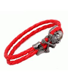 Örgülü Kırmızı Deri Halat Siyah Metal Kurufa Bileklik