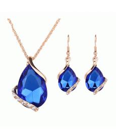 Su Damlası Moda Takı Setleri 2018 Altın Kaplama Kristal Mavi Küpe Kolye Setleri