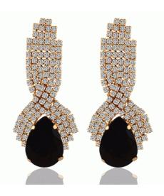 Yeni Model Kristal Siyah Küpe Su Damlası Küpe Şık Abiye Moda Takılar 2018