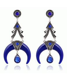 Yeni Model Küpe Bohemian Uzun Asma Şık Tasarım Etnik Mavi Büyük Küpeler