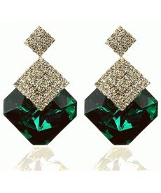 Yeni Model Zarif Yeşil Küpe Büyük Kristal Taşlı Yüksek Kalite Drop Küpe