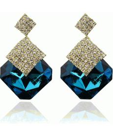 Yeni Sezon Moda Mavi Küpe Büyük Kristal Taşlı Yüksek Kalite Drop Küpe