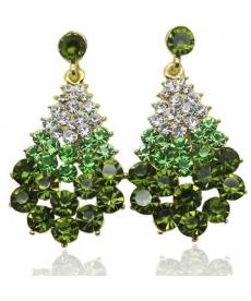 Yeni Sezon Yeşil Avusturya Kristal Taşlı Zarif Şık Küpe Modelleri