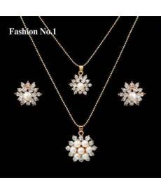 Moda Çiçek Kolye Kristal Takı Setleri Trendy 18K Altın Kaplama Kolye Küpe