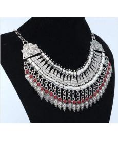 Osmanlı Motifli Kolye Moda Takı Gümüş Rengi Kırmızı Taşlı Kolye