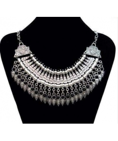 Osmanlı Motifli Kolye Moda Takı Gümüş Rengi Siyah Taşlı Kolye 2019 Takı