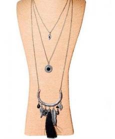Siyah Tüy Uzun Zincirli Moda Püskül Kolye 3 lü Katmanlı Boho Kolye