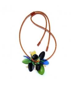Özel Tasarım Romantik Stil Kolye Renkli Çiçek Deri Zincir Kolye