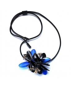 Özel Tasarım Romantik Stil Kolye Siyah Çiçek Deri Zincir Kolye